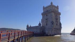 Atração turística importante em Lisboa - a torre de Belém - de LISBOA/PORTUGAL - 14 de junho de 2017 video estoque