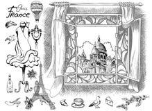 Atrações da catedral de Sacré Coeur das vistas e detalhes parisienses do encanto excelente de Paris ilustração royalty free