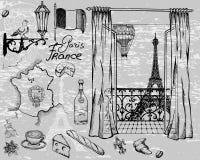 Atrações e detalhes do encanto excelente de Paris ilustração do vetor