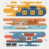Atrações famosas de Hong Kong ilustração stock