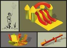 Atrações no parque das crianças Imagens de Stock
