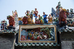 Atrações turísticas de Guangzhou, de China telhado ancestral, do salão famosos de Chen, uma variedade de figuras mitológicas e tr Fotos de Stock