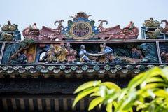 Atrações turísticas famosas do ` s de Guangzhou, China, salão ancestral de Chen, telhado com o processo do molde do cal para prod imagem de stock