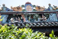Atrações turísticas famosas do ` s de Guangzhou, China, salão ancestral de Chen, telhado com o processo do molde do cal para prod Imagens de Stock