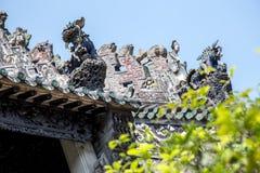 Atrações turísticas famosas do ` s de Guangzhou, China, salão ancestral de Chen, telhado com o processo do molde do cal para prod Imagem de Stock Royalty Free