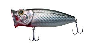 Atra??es do girador isoladas no fundo branco pescar giradores e wobblers multi-coloriu foto de stock