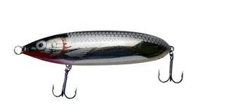 Atra??es do girador isoladas no fundo branco pescar giradores e wobblers multi-coloriu foto de stock royalty free