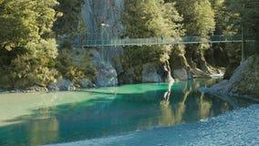 Atracción famosa del turist - piscinas azules, paso de Haast, Nueva Zelanda metrajes