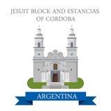 Atracción plana del vector de Estancias Córdoba la Argentina del bloque de la jesuita stock de ilustración