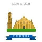 Atracción plana del vector de Filipinas de la iglesia de Paoay que hace turismo stock de ilustración