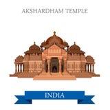 Atracción plana del vector de New Dehli la India del templo hindú de Akshardham