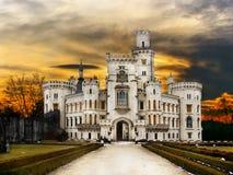 Atracción del cuento de hadas de la señal de Hluboka del castillo Fotografía de archivo
