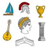 Atracciones del bosquejo de Italia para el diseño del turismo Imagen de archivo