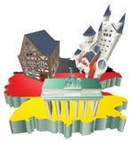 Atracciones turísticas alemanas de la ilustración en Alemania Fotografía de archivo