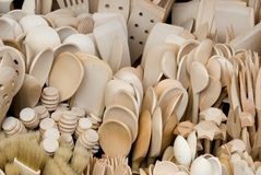 Atraction wooden cutlery for tourists in Poland. Atraction wooden cutlery for tourists Royalty Free Stock Photos