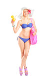 Atractive blond woman in swimsuit Stock Photography
