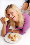 Atractive blonde woman with baguette.  Stock Photography