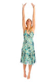Atractive blonde woman in blue patterned dress Royalty Free Stock Image