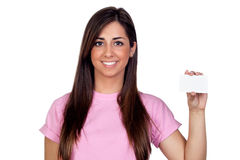 Atractive girl with a blank card Royalty Free Stock Photo