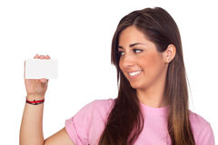 Atractive girl with a blank card Royalty Free Stock Image