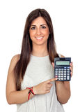 Atractive girl with a calculator Stock Photography
