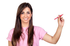 Atractive girl with a red pencil Royalty Free Stock Photo