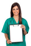 Atractive medical girl with a clipboard Royalty Free Stock Photo