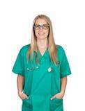 Atractive medicinsk flicka med exponeringsglas Royaltyfria Bilder