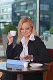 Atractive middle-aged blond businesswoman working Stock Photo
