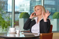Atractive middle-aged blond businesswoman working Royalty Free Stock Images
