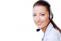 Atractive operator. Adult atractive operator in the  headset. Stuido shot on a white background Royalty Free Stock Photo