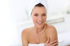 Atractive woman in bathroom Stock Photo