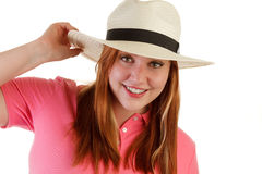 Atractive woman with hat Stock Photos