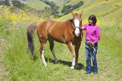 Atractive woman and horse Stock Photo