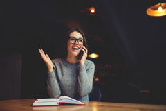 Atractive young girl trying understand bussines strategy of hostel and restraunt Stock Photo