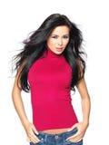 Atractivo en camisa roja Foto de archivo libre de regalías