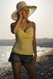 Atractivo en la playa Fotos de archivo libres de regalías