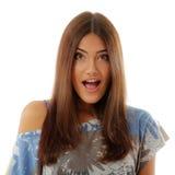 Atractivos adolescentes de la muchacha sorprendidos hacen las caras aisladas en blanco Imágenes de archivo libres de regalías