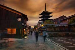 Atrakcja turystyczna yasaka świątyni ulica jeden najwięcej popularnego podróżnego miejsce przeznaczenia w Kyoto Japan obraz stock