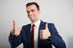Atrakcyjna biznesowego mężczyzna seansu kopia jak gest obraz royalty free