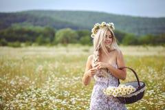 Atrakcyjna blondynka w chamomile polu. Młoda kobieta w wianku zdjęcia royalty free