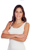 Atrakcyjna brunetki kobieta z brown oczami Obrazy Stock