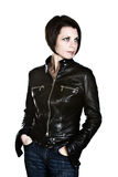 atrakcyjna brunetki mody kurtki skóra Fotografia Royalty Free