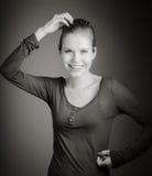 Atrakcyjna caucasian kobieta w jej 30 odizolowywającym na a fotografia stock