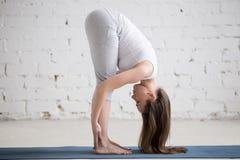 Atrakcyjna dysponowana młoda kobieta robi Stojący Przednią chył pozę w w Fotografia Stock