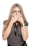 Atrakcyjna dziewczyna z no mówić gesta Zdjęcia Royalty Free