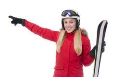 Atrakcyjna dziewczyny narciarka na białym tle obraz stock