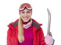 Atrakcyjna dziewczyny narciarka na białym tle zdjęcie royalty free