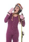 Atrakcyjna dziewczyny narciarka na białym tle obrazy royalty free