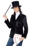 atrakcyjna gospodarczej magicznej różdżki kobieta hat obraz royalty free